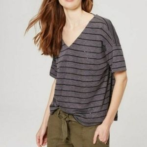 NWOT LOFT Sequin Stripe V-Neck Drop Sleeve Tee